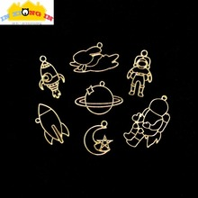 Buy 10pcs Spaceman Metal Open Bezel Hollow Planet Rabbit Pendant Resin Craft Rocket Astronaut Frame Charms Jewelry DIY Accessories for $3.86 in AliExpress store