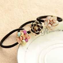 LNRRABC New  Fashion Rhinestone Women Flower Rubber Hair Bands Ponytail Gum Headwear Elastic Hair Accessories