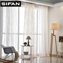 New Europe Style Fashion Design Printed Striped Curtain Tulle Fabrics for Bedroom Window
