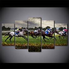Modern Canvas Wall Art Poster Frame Sports Room Home Decor HD Printed 5 Piece Modular Pictures Fast Horse Racing Painting