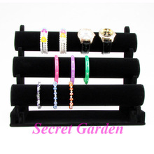 Wholesale High Quality Black Velvet Bangle Watch Bracelet Display Stand Holder T-Bar 3 Tiers