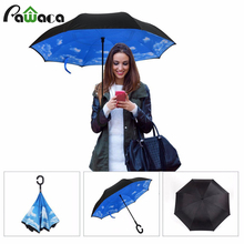 2017 New Women Brand Double Reverse Layer Colors Open Umbrella / Close At Strait Creative Graphic Space Windproof Umbrella