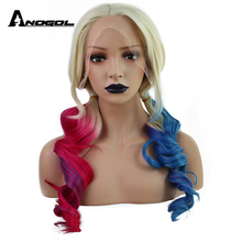 Anogol Double Ponytail Blonde Ombre Red Blue Glueless Long Wavy High Temperature Fiber Synthetic Cosplay Lace Front Wig