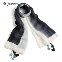 BQacces new fashion black white ombre print cotton voile scarf with tassel lady gradient color thin silk scarf autumn shawl wrap