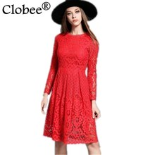 Clobee Women Spring Summer Dress 2017 Sexy Hollow Long Sleeves Knee Length Elegant Party Lace Dress Red Black Plus size B25