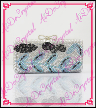 Aidocrystal Hot design awesome metal bowknot buckle leaves pattern crystal clutch bag