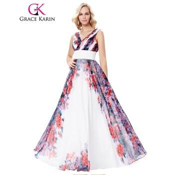 Grace karin largo de la vendimia patrón de flores de gasa vestido de noche 2017 sin mangas de la blusa plisada partido abendkleider vestidos formales