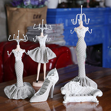 Charm Shoe Dress Mannequin Necklace Ring Holder Jewelry Organizer Display Stand Hanging High-heel(China)
