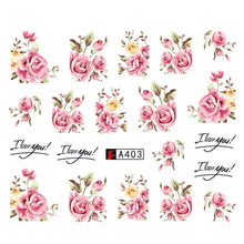 1 Sheets 2017  DIY Designer Water Transfer Tips Nail Art Pink Rose Flower Sticker Decals Women Beauty Wedding Nails A403