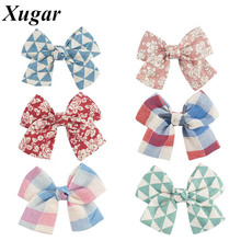 4 Pcs/Lot 4.5'' DIY Boutique Handmade Fabric Hair Bow Cute Plaid Flower Printed Headwear For Pretty Baby Children Girl