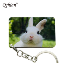 Lovely Rabbit Series Printed Car Keychain or HandBag Ornaments Pendant Keyring Pretty Nice Gift Pictures can be Customized(China)