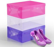 wholesale 400pcs/lot Women's Plastic Clear Shoes Box Storage Organizer 28cm*18cm*10cm