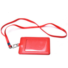 Leather Id Holders Case PU Business Badge Card Holder with Necklace Lanyard letter print company office supplies High Quality