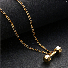 High Quality clavicle chain fitness Custom Initial dumbbell pendant necklace For Cool Men Workout Crossfit Gym Exercise Jewelry