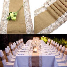 2.75mx30cm Lace Vintage Natural Burlap Jute Hessian Table Runner Cloth Wedding Party Banquet Decor Table Cloth Wholesale(China)