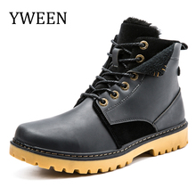 YWEEN Newest Warm Men Winter Boots High Quality PU Leather Casual Shoes Working Fahsion Men Boots(China)