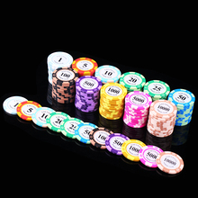 Poker Chips Metal 20PCS Poker Chips 14g Iron+Clay Coin Poker Chip guard Value Casino Chip Texas Holdem Chip Casino Game