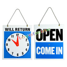 OPEN CLOSED Sign / WILL RETURN + CLOCK Business for Bar Cafe Shop Store Door Window Hanging Sign