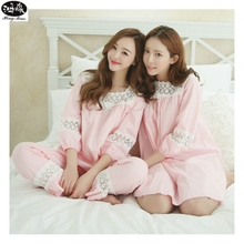 Spring Princess Wind Lovely Pyjamas Women Pijama Hollow Jacquard Pajamas Set M-XL Three Quarter Sleeve Inner Honey Sleepwear(China)