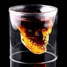 2017 New Arrival Creative 3 Sizes Designer Skull Head Shot Glass Fun Doomed Transparent Party My Glasses Beer Wine Bottle(China)