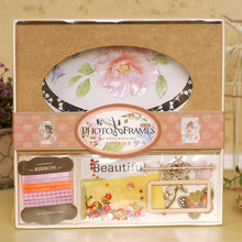ENOGREETING Beautiful DIY wooden photo frame multi designs heart rectangle oval picture paper pack(China)