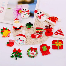 50Pcs/Lot Mixed Christmas Resin Flatback DIY Craft Scrapbook Fit Embellishments Hair Decoration Accessories Children Xmas Gifts
