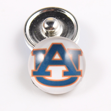 Auburn Tigers Coll 18mm Glass Cabochons Snap Button Fit Ginger Snap Bracelet Bangles NCAA Football Baseball Series Jewelry 10PCS