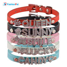 Soft Pu Leather Customized Personalized Pet Dog Collar Free Rhinestone Name Letters Charms