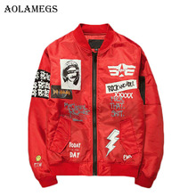 Aolamegs Jacket Men Print Plus Size Stand Collar Bomber Jacket Fashion Casual Outwear Men's Coat Bomb Baseball Jackets Brand New(China)