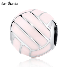 Authentic 100% 925 Sterling Silver Bead Charm Olympic Volleyball Charms Pink Enamel Fit Pandora Bracelets Women Diy Jewelry(China)