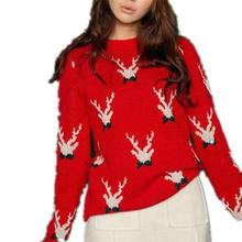 2017Winter Women deer korea Sleeve Loose Sweet jumper Vintage Jersey Ugly Christmas kerst trui Round Neck pullover Knit Sweater(China)