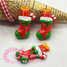 wholesale resin Christmas stocking Flat Back cabochon for decoration 50pcs/lot 21*38mm(China)