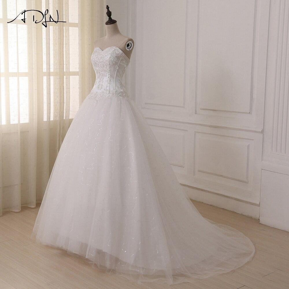 ADLN Wedding Dresses Vestidos de Novia Off the Shoulder Sweetheart Tulle Long Bride Dress Lace Up Back Plus Size In Stock 6