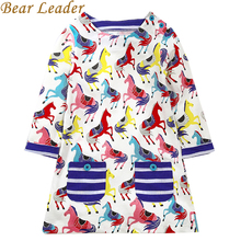 Bear Leader Girls Dress 2017 New Autumn Girls Dress European and American Style Blue broken Flower Brand Baby Girls Dress