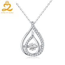 Heart By Heart Fashion Pendant Necklace with Chain & Box Silver Costume Jewelry Dancing Gemstone for Women Fine Jewelry(China)