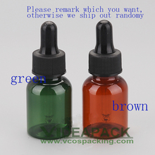 50pcs 25ml brown and green plastic Essential oil bottle  with black droppers/ glass dropper / Fragrance packaging empty bottles