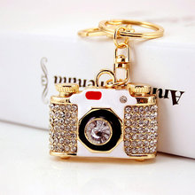Trendy Brand New Enamel Camera Design Keychain Rhinestone Keyring Bag DIY Pendants Car Key Holder for Women Gifts(China)