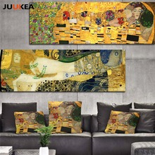 Classic Styles Decorative Painting Gustav Klimt kiss Abstract Art Canvas Oil Painting Print Wall Picture Home Decor Living Room