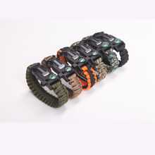 5 in 1 Outdoor Rope Paracord Survival Gear Escape Bracelet Flint/Whistle/Compass Kit survival bracelet hand Rescue Paracord Cord