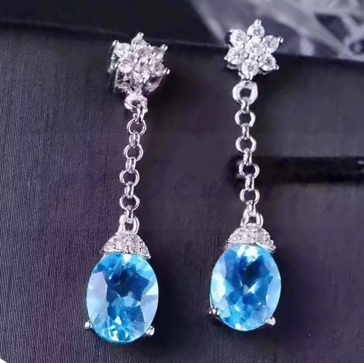 Real blue  topaz drop earring Natural original blue topaz Free shipping 925 sterling silver 1.6ct*2pcs gems #L18050815