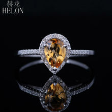 HELON 5x7mm Pear 0.765ct Citine & Natural Diamonds Solid 10k White Gold Wedding Anniversary Gemstones Ring Women's Fine Jewelry