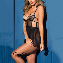 Buy Hot Women Lace lingerie sexy hot erotic babydoll Backless Open bra Sleepwear Underwear transparent dress lenceria femenina