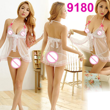 Night party princess White dress Costume Sexy Underwear Soft babydoll Night Gown Nightwear Pajamas Sleepwear Lingerie 9180