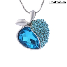 Wholesale Austria Crystal Peach Heart Sweet Apple Pendant Necklace Silver Plated Special Offer For Christmas Accessories