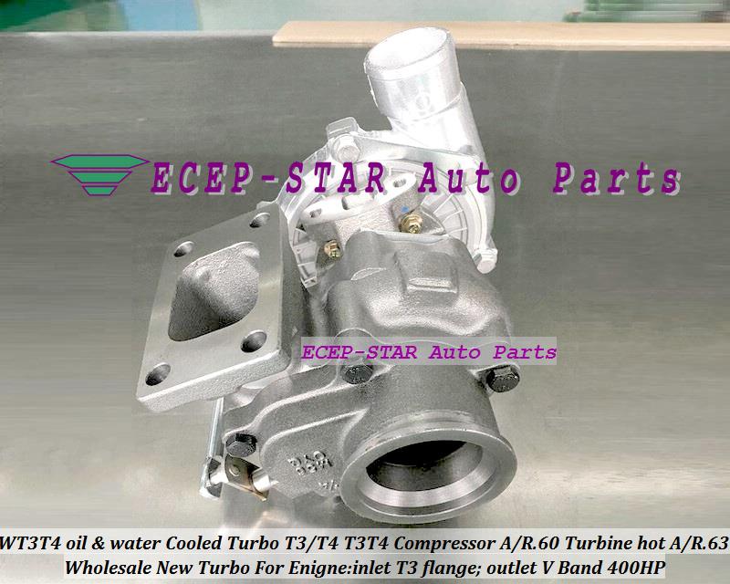WT3T4 oil Cooled Turbo T3T4 T3T4 Internal Wastegate;Compressor AR .60 Turbine hot AR.63 inlet T3 flange;outlet V Band 400HP (2)