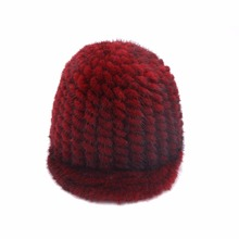 Natural Mink fur knit peaked cap