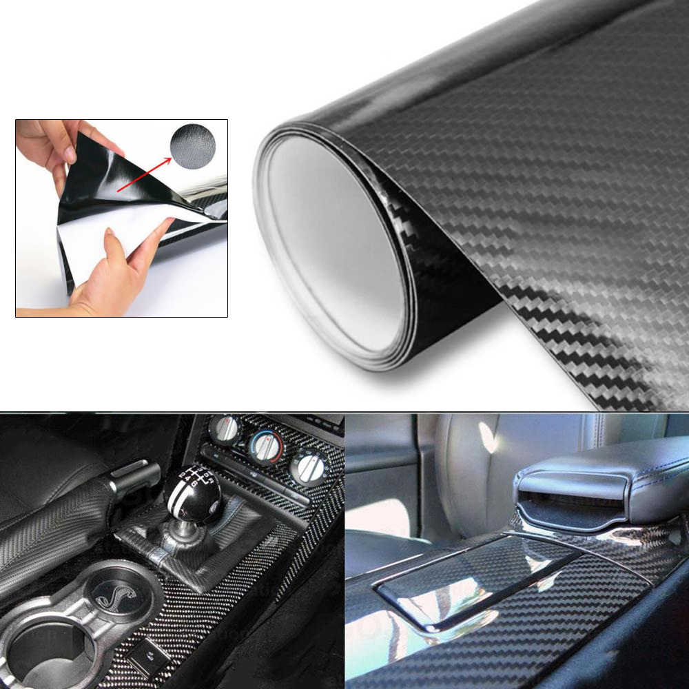 30x10cm ultra gloss 5d carbon fiber vinyl wrap texture body color film pvc car body sticker