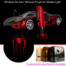 2pcs Wireless Car Door Red Spider Logo Welcome Laser Projector Puddle Ghost Shadow LED Lights #A0319
