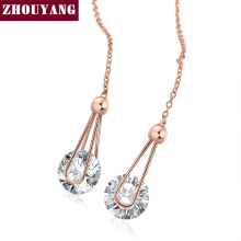 Top Quality ZYE683 Cubic Zirconia Rose Gold Color Fashion Chain Earrings Jewelry For Women Austrian Crystal Wholesale(China)