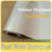 High quality 1.52*20m Glossy Finished Pearl White Vinyl Car wrap Chameleon Pearl Film Vinyl Sticker Car With Air Bubble Free